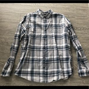 BR Grey Blue Plaid Button down. Never worn. SZ XLT